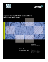 2007 Aripuanã Project 43-101 Technical Report