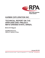 Aripuanã Project – RPA 43-101 Technical Report (Jan 29 2013)