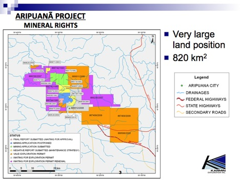 Aripuana Zinc Project Mineral Rights Map