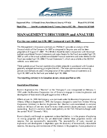 Management's Discussion & Analysis 2007