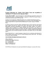 Stock Option Grant and Acquisition of Additional 1.5% Interest in the Aripuanã Project